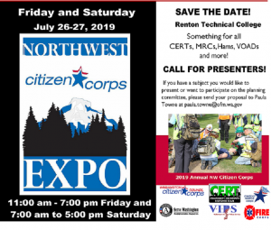 flyer calling for presenters for 2019 NW Citizen Corps Expo