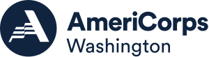 logo image of blue circle with wavy letter A inside next to AmeriCorps Washington text